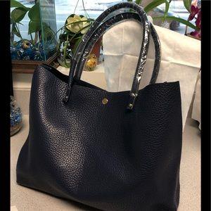 Handbags - Navy Blue Vegan Leather Bag